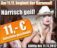 11 Euro Sexcam Guthaben geschenkt